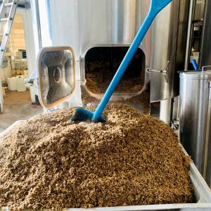 Introducing Philly Buster. A photograph of malt and grains after being emptied out of a brewery mash tun