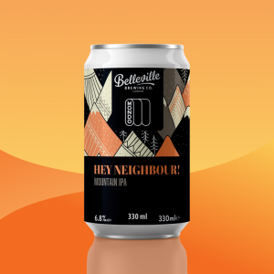 5 of our Favourite Burns Night Craft Beer and Food Pairings. Photograph of a can of Hey Neighbour beer on an orange background