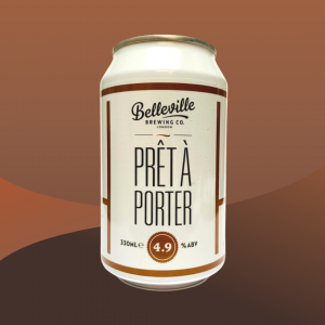Christmas Beer and Food Pairings. Image of a can of Belleville Brewery Pret a Porter beer on a chocolate brown backdrop