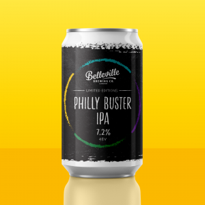 Introducing Philly Buster IPA. An image of a can of Belleville Philly Buster beer displayed on a yellow gradient backdrop.