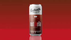 Fluffy American Pancakes Recipe. Vector graphic of a can of Nutshella Milk Stout by Belleville Brewing Co. on a red background