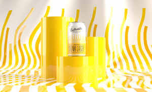 Deep Dive into London Steam Lager. A vector image of a can of London Steam Lager balanced on top of a glossy yellow podium with a yellow steam motif in the background.