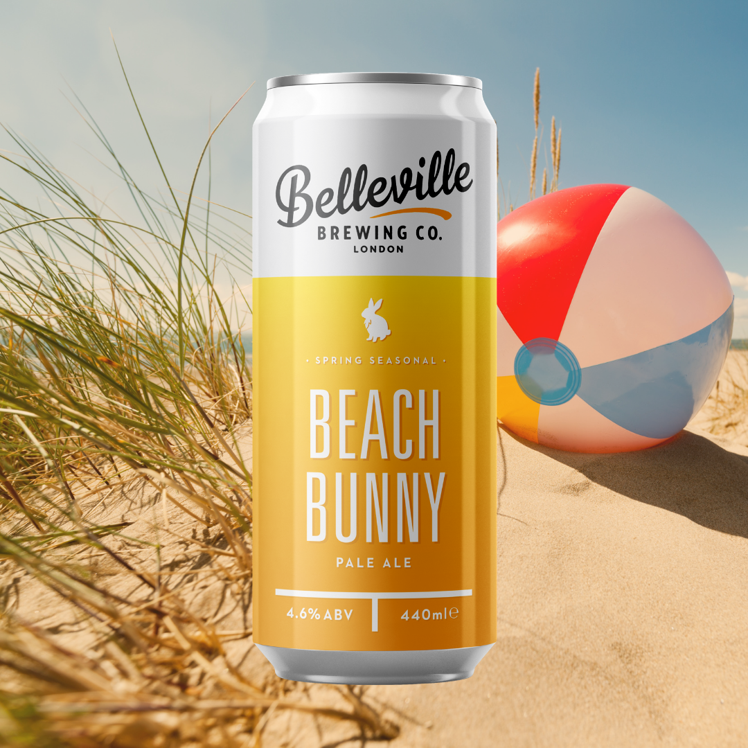 Deep Dive into Beach Bunny Pale Ale. Vector image of an orange, yellow gradient 440ml can of Beach Bunny with a beach and beachball in the distance.